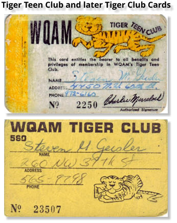 Tiger Teen Club and later Tiger Club Cards