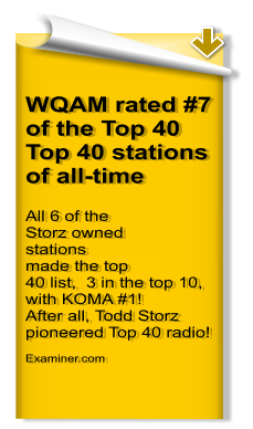 WQAM rated #7 of the Top 40 Top 40 stations of all-time All 6 of the Storz owned stations made the top 40 list,  3 in the top 10, with KOMA #1! After all, Todd Storz pioneered Top 40 radio!    Examiner.com